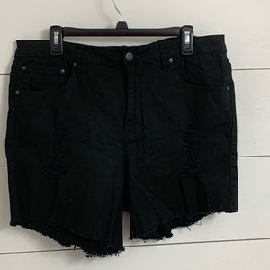 American Bazi Black Distressed Cotton Twill Short